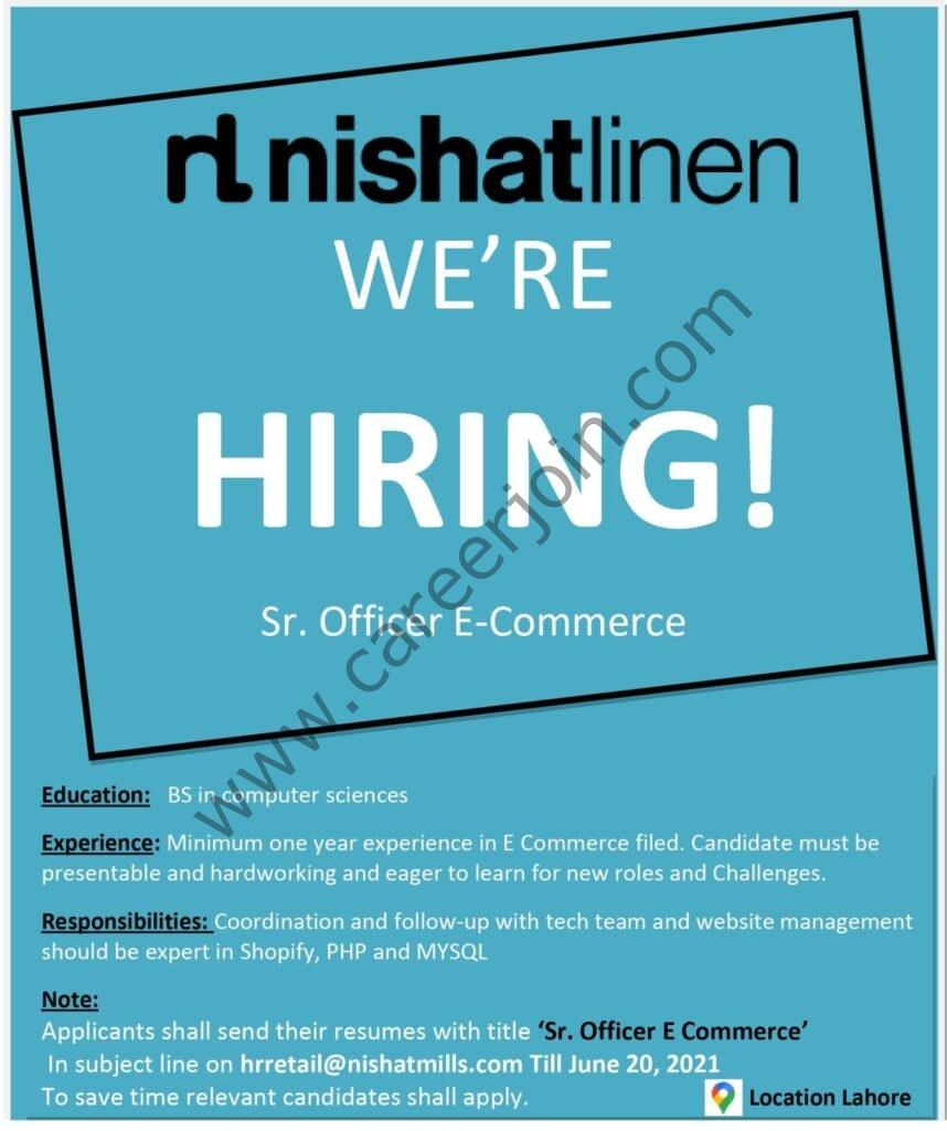 hrretail@nishatmills.com - Nishat Linen NL Jobs 2021 in Pakistan