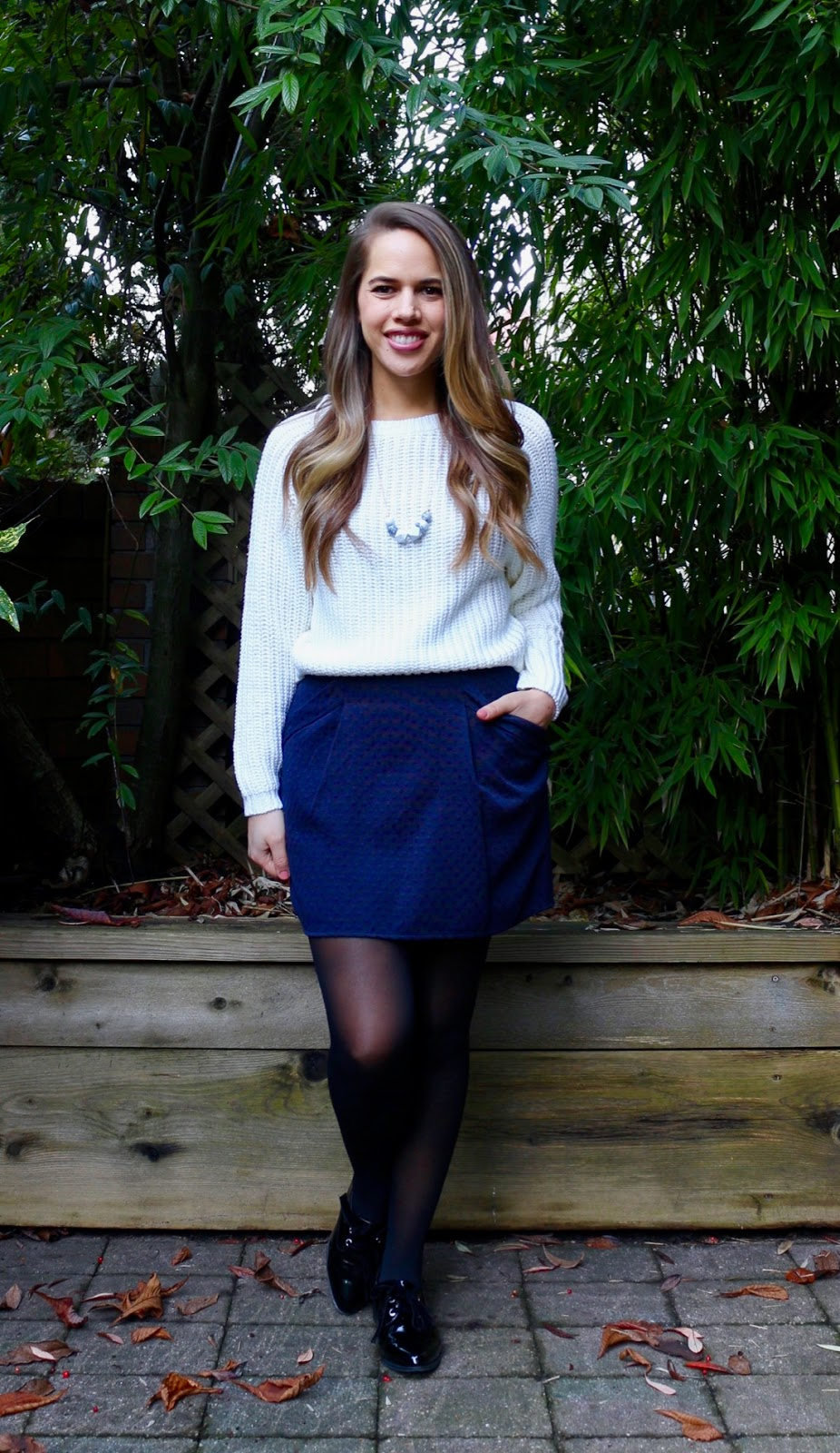 Jules in Flats - Navy Mini Skirt + Cream Knit Sweater (Business Casual Winter Workwear on a Budget)