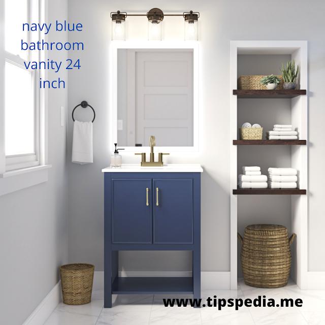 navy blue bathroom vanity 24 inch