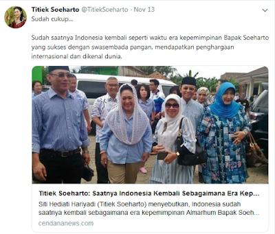 Sebut Sudah Saat Nya Indonesia Kembali Ke Era Kepemimpinan Soeharto, Titiek Soeharto Banjir Kritikan - wartaku.info