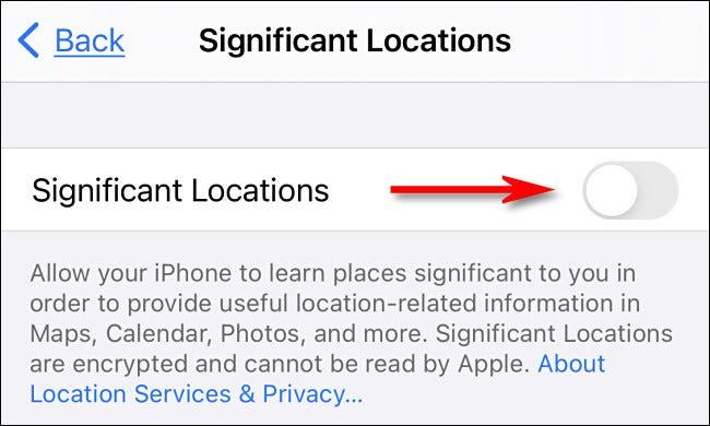 """في إعدادات iPhone ، أوقف """"المواقع المهمة""""."""