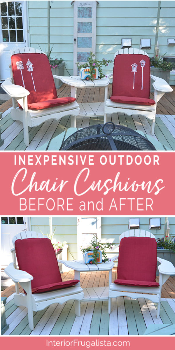 How to turn inexpensive outdoor chair cushions from drab to fab in less ten minutes into lovely one-of-a-kind cottage style with birdhouse stencils. #patiofurnituremakeover #outdoordiyprojects #outdoordecor