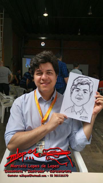 Uma das vítimas caricaturadas e sua caricatura M2LOPES de eventos