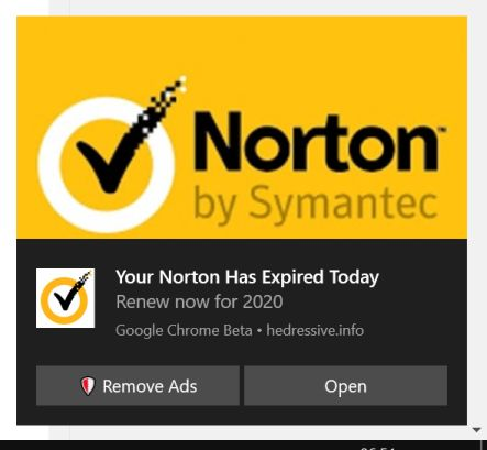 """Your Norton Has Expired Today"" pop-ups Scam"