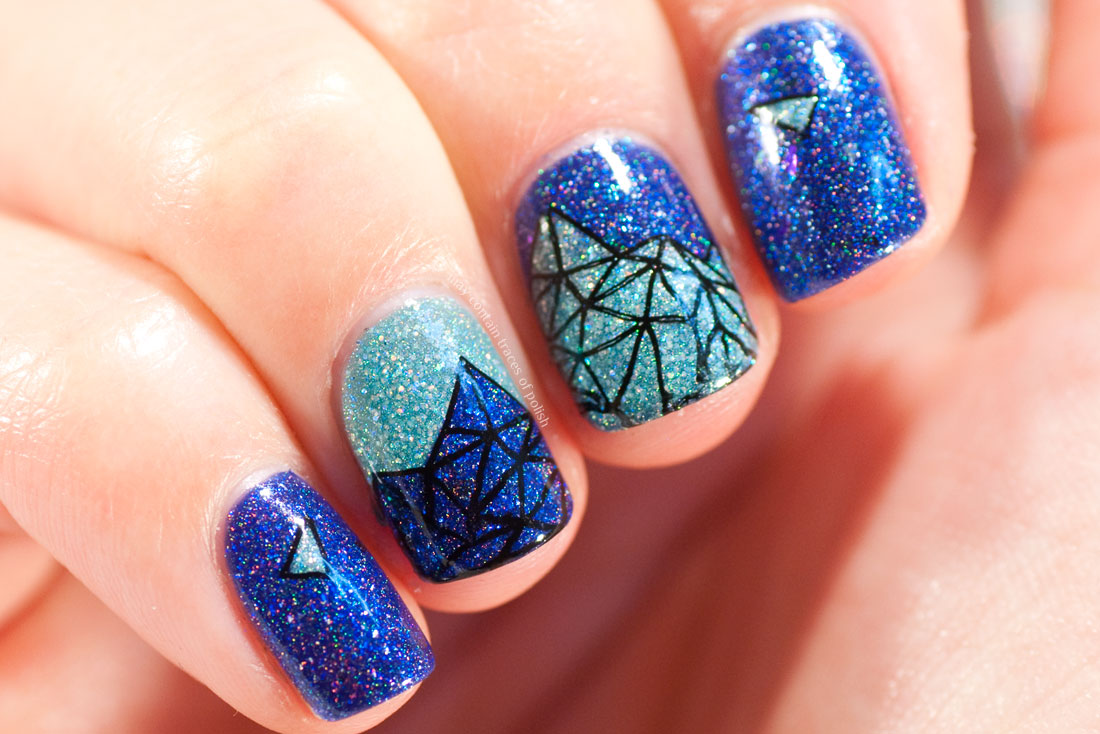 Geometric Mountain stamped Manicure with Maniology festival BM-S303