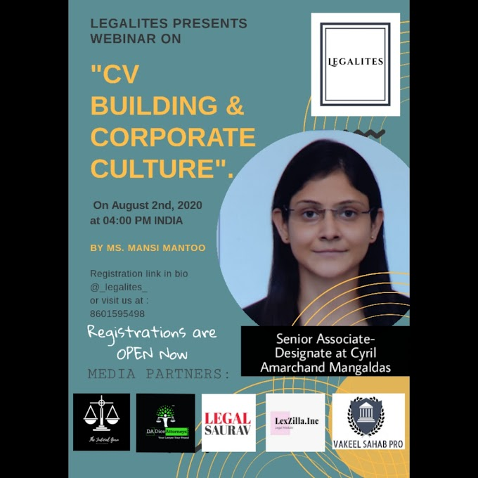 Webinar on CV Buildding & Corporate Culture @ LEGALITES