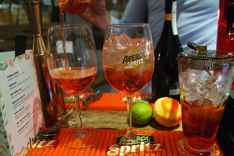 Making of Aperol Spritz Cocktail