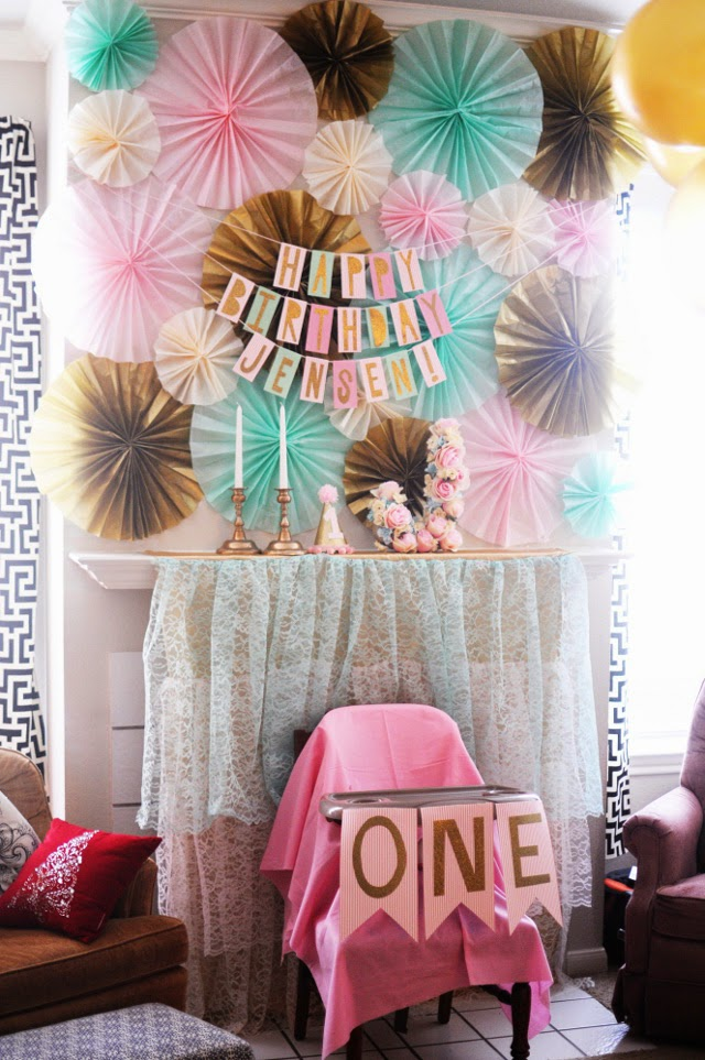 tissue paper fans, diy flower letter, lace tiered backdrop, birthday banner from scrapbook paper, diy cone hat