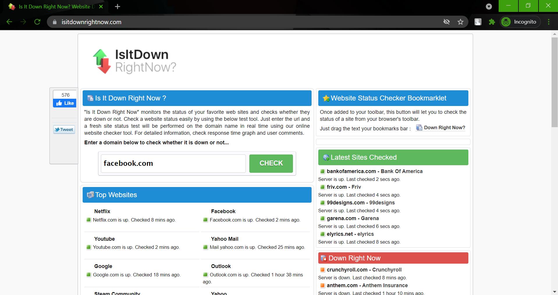 Hidden websites - isitdownrightnow.com
