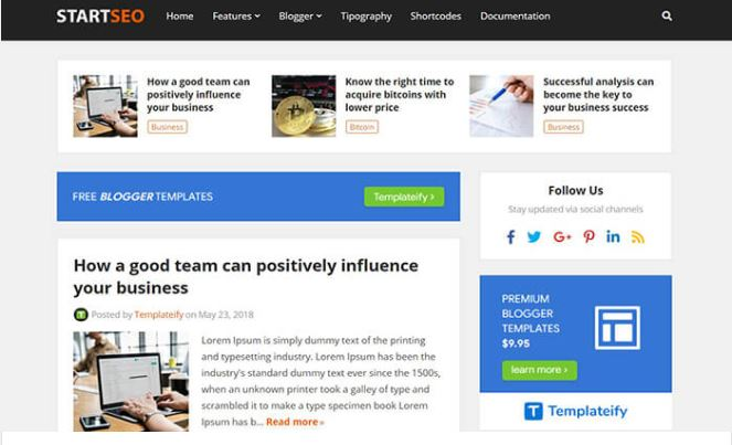 Giao diện blogger StartSeo blogger template