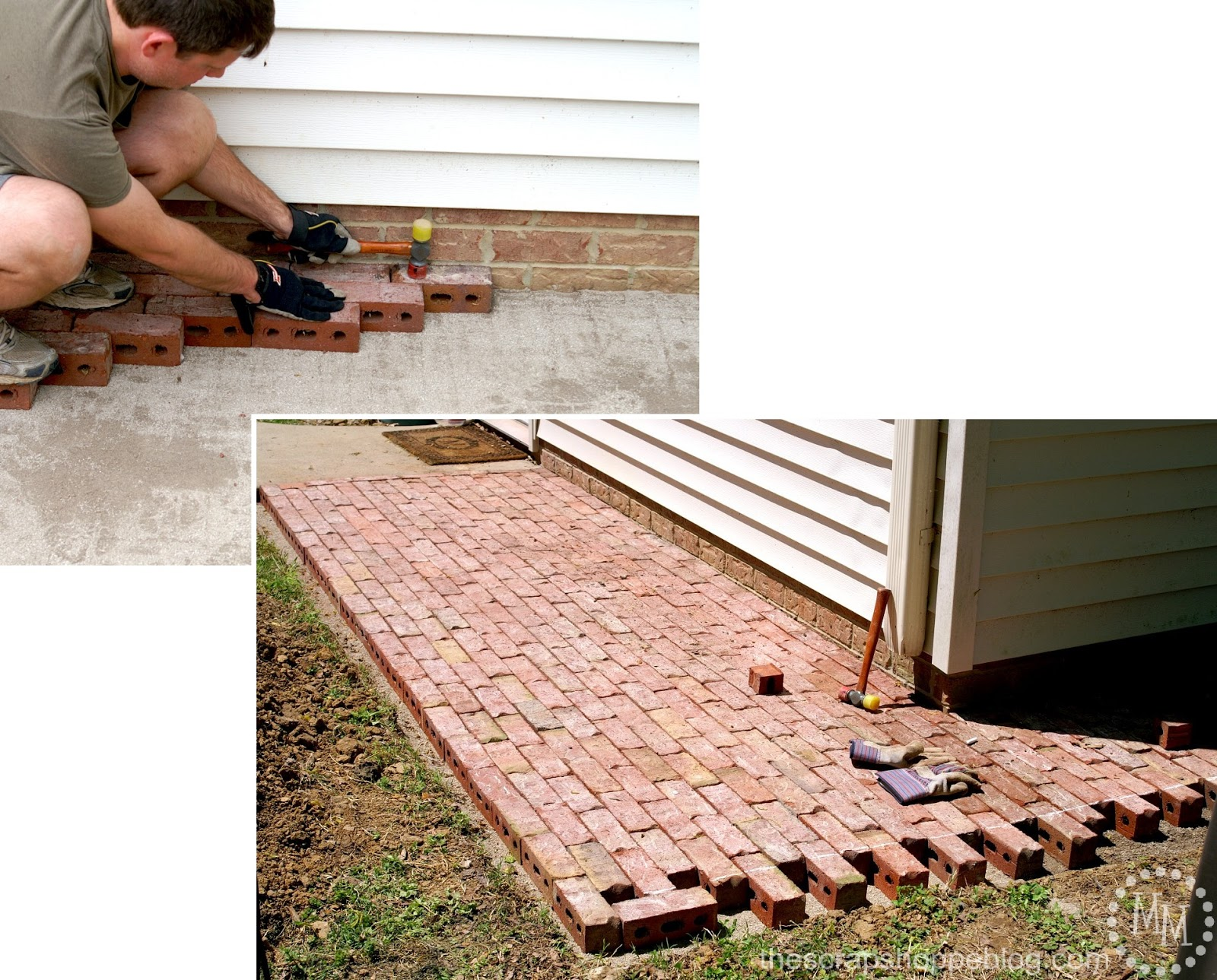 how to build a brick patio - laying bricks for diy patio