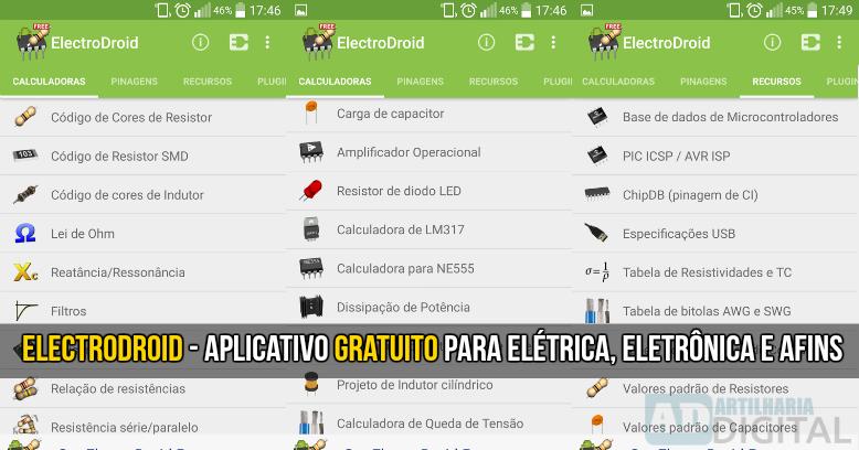 ElectroDroid - Aplicativo gratuito para elétrica, eletrônica e afins.
