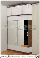 Lemari minimalis kaca sliding cabinet unit Rome