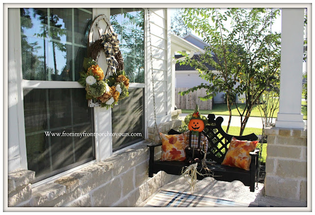 Fall- Porch-Swing-Scarecrow-Hydrangea-wreath-From My Front Porch To Yours