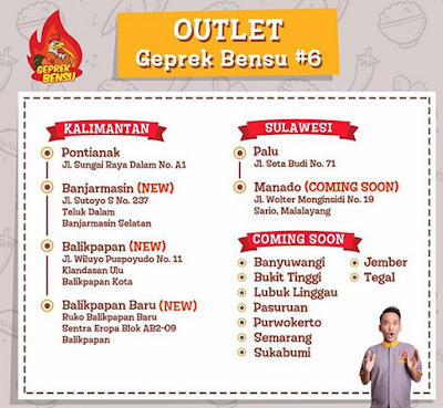 Outlet Ayam Geprek Bensu di Kalimantan dan Sulawesi
