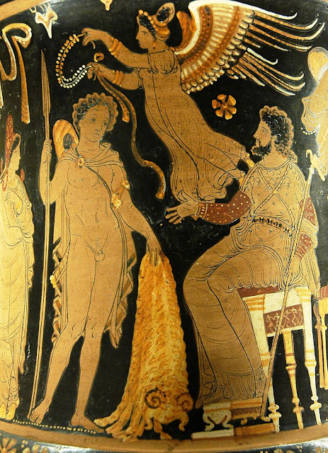 Jason returns with the Golden Fleece,  shown on an Apulian red-figure calyx krater, ca. 340–330 BC