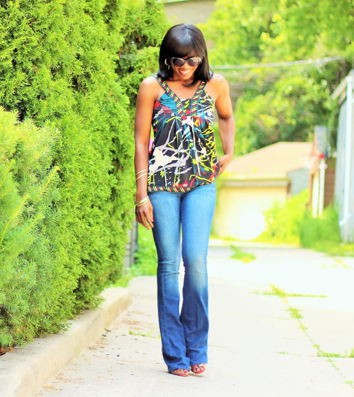 BCBGMAXAZRIA Top + Rachel Roy Bootcut Denim Pants