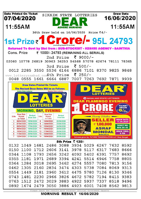 Sikkim State Lottery Sambad 07-04-2020 Today Result 11.55 AM