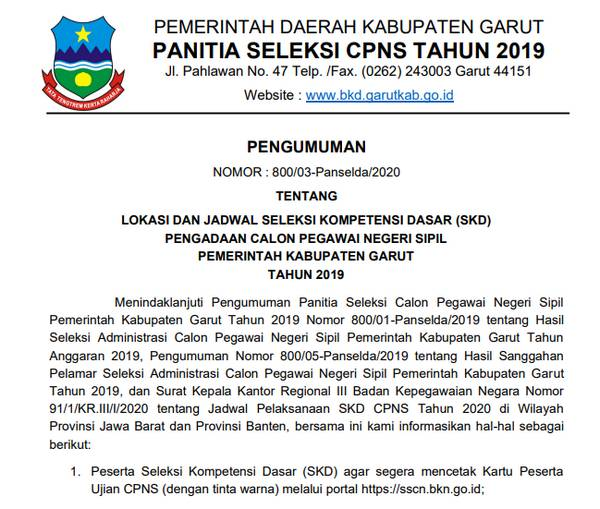 Lokasi dan Jadwal SKD CPNS Kab. Garut Tahun 2020