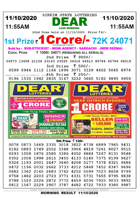 Lottery Sambad 11-10-2020, Lottery Sambad 11.55 am results, Sikkim Lottery Results, Lottery Sambad Today Results Live, Morning results