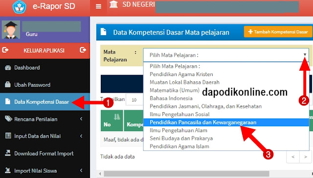 Cara mengedit data kompetensi dasar untuk mapel yang sudah ada KD-nya di aplikasi e-rapor SD kurikulm 2013
