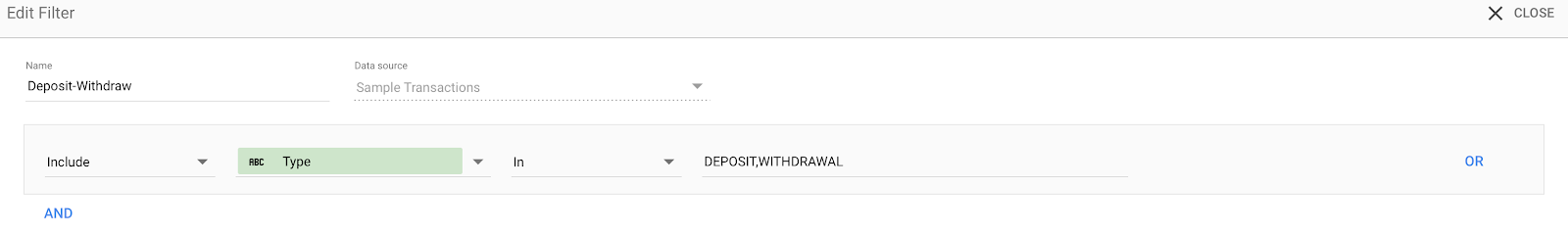 Filter to keep only transactions of types: DEPOSIT, WITHDRAWAL