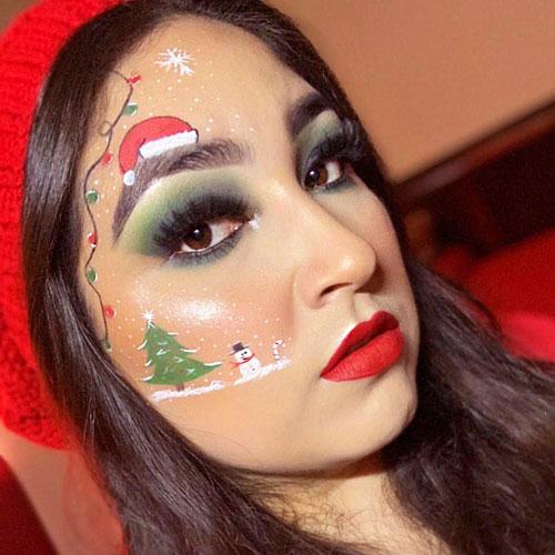 Maquillaje de Navidad con luces y muñeco de nieve