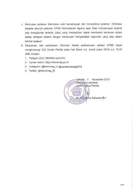 Lowongan CPNS Kementrian Agama Tahun Anggaran 2019 [5815 Formasi]