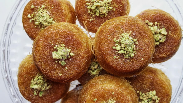 kunafa cups in a plate