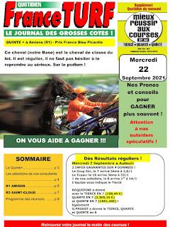 Pronostic quinté+ pmu Mercredi Paris-Turf TV-100 % 22/09/2021