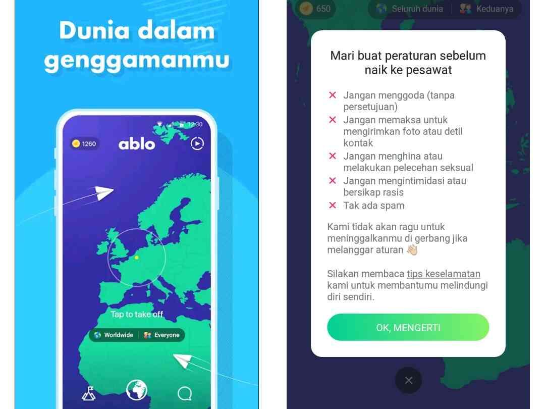 Aplikasi Ablo chatting dengan Orang Asing