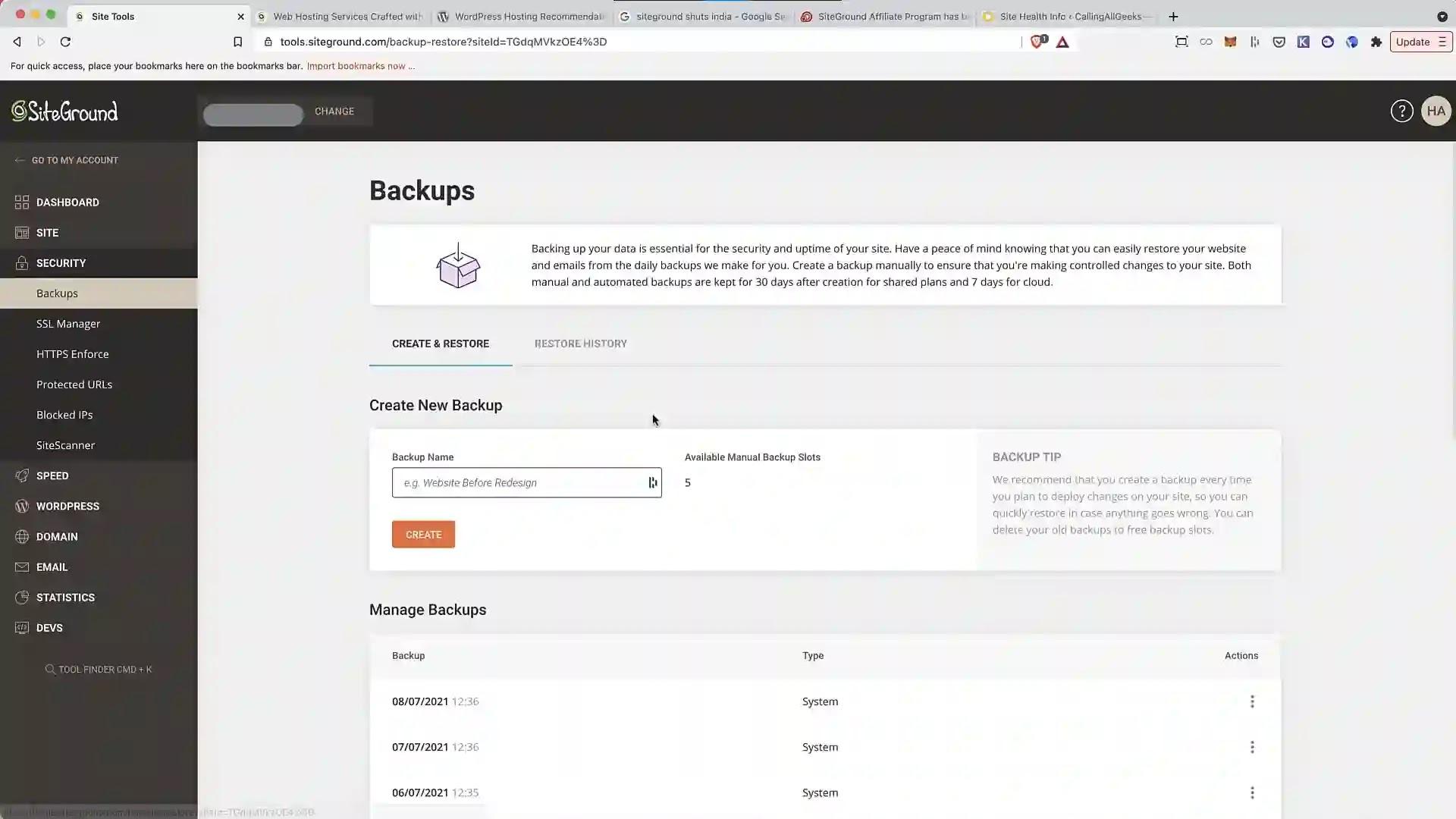 SiteGround manual backup