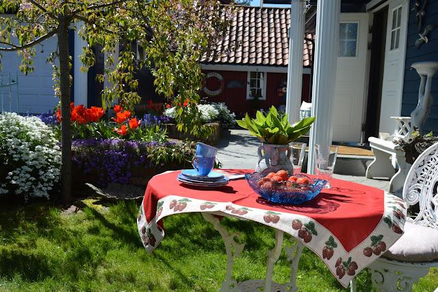 En solrik dag i Cornelias Verden - Et dekket bord som møtte meg ved adkomst
