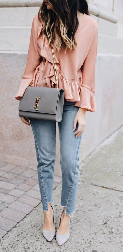 trendy outfit: blouse + bag + jeans