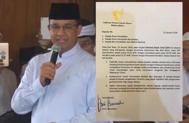 Gerhana Bulan Total, Gubernur Anies Keluarkan Edaran Ajakan Sholat Gerhana