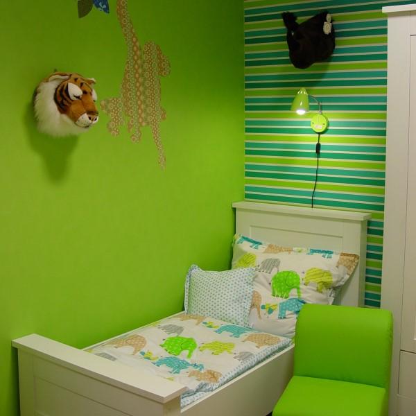 Dormitorio para ni os color verde dormitorios colores y - Habitacion infantil verde ...