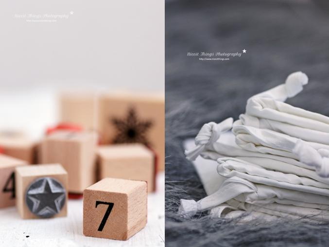 Säckchen für DIY Adventskalender Kiste bestempeln