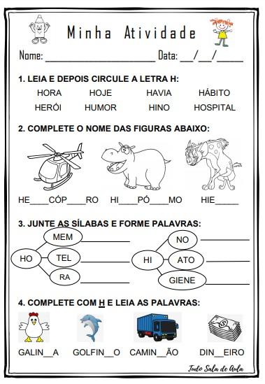 ATIVIDADE DE EDUCAÇÃO INFANTIL LETRA H