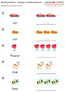 MamaLovePrint 英文工作紙 -  Singular and Plural Nouns English Basic Grammar Learning Activities Kindergarten Worksheet Free Download  英文名詞的單數與複數 幼稚園工作紙