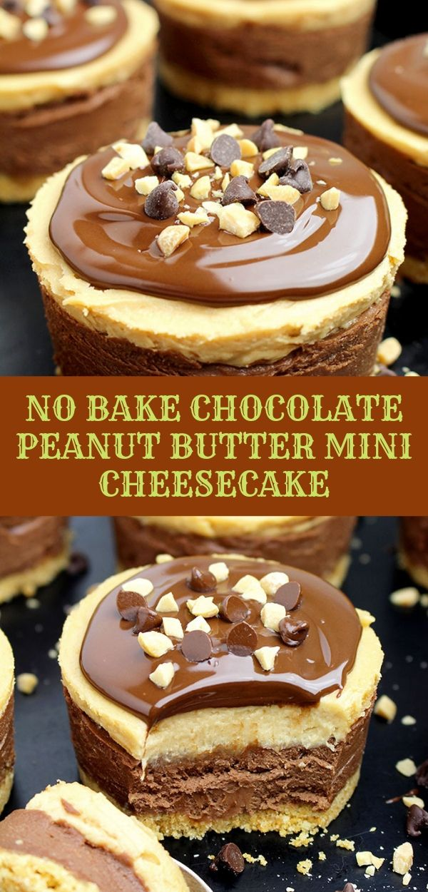 NO BAKE CHOCOLATE PEANUT BUTTER MINI CHEESECAKE #nobake #chocolate #cheesecake #peanutbutter