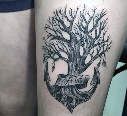 anchor tattoo for tree ağaç kökü çapa dövmesi