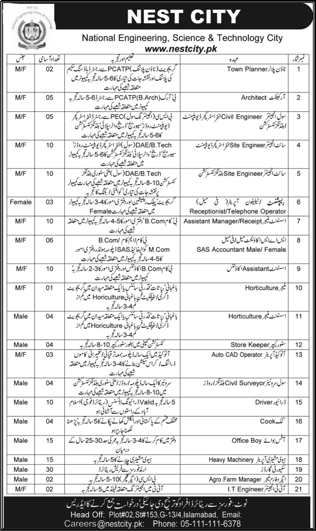 Nest City Jobs In National Engineering Science And Technology Islamabad 15 June 2017