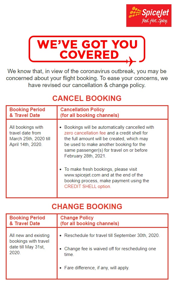 Spicejet Airline - Cancellation/Change Policy -COVID19