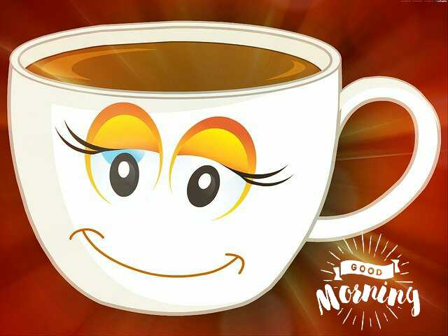 Beautiful good morning photo image with smile cup of coffee