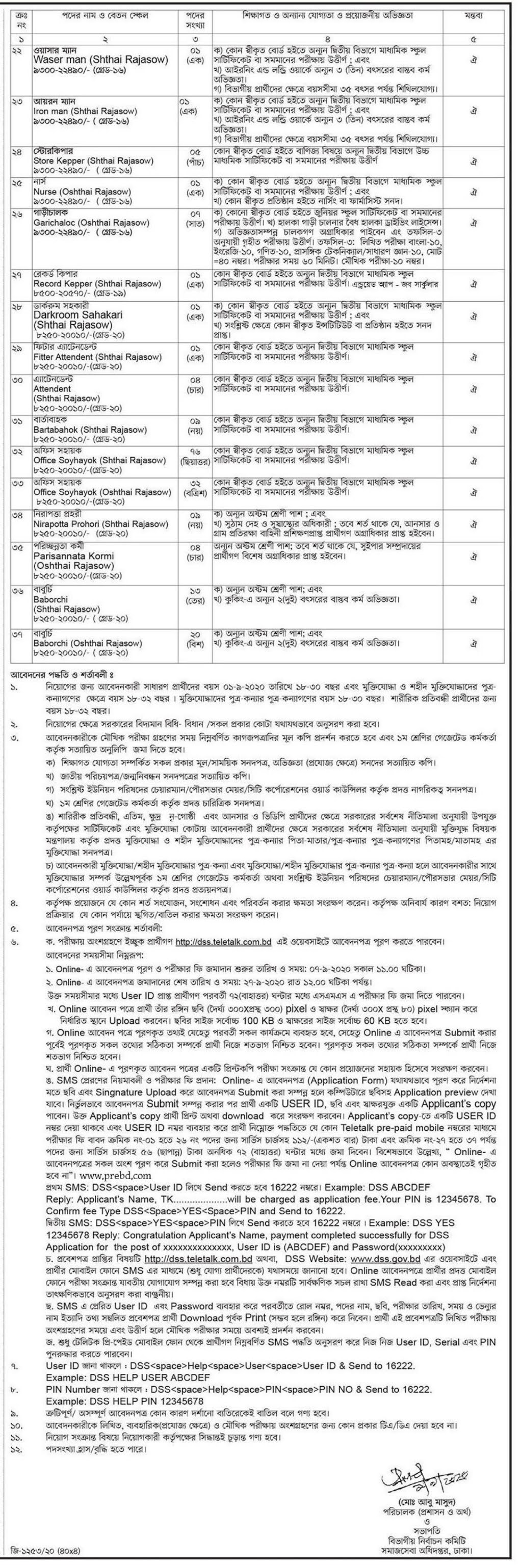 Department of Social Services DSS Job Circular 2020 – www.dss.gov.bd