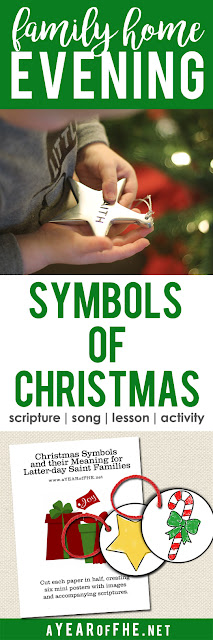 A Year of FHE // A Family Home Evening about the meaning behind the many symbols we see during the holidays.  Includes free printable ornaments with the symbols of Christmas.  Kids can color them and then hang them on the tree to remember the true meaning of Christmas. #lds #familyhomeevening #christmas #LIGHTtheWORLD