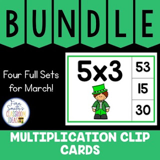 Multiplication 0 to 12 Facts Clip Cards March Bundle