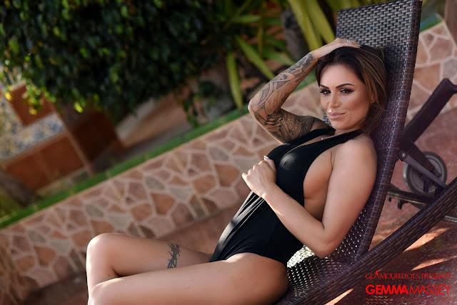 Gemma Masseyhot in black bodysuit