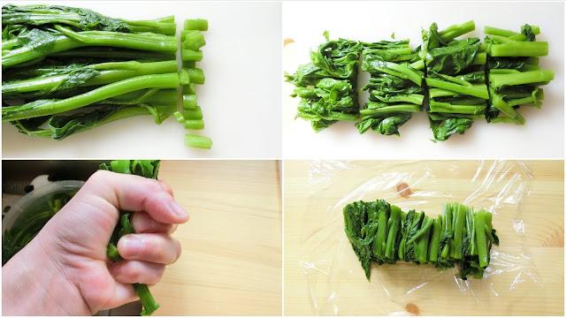 冷めたら、つるむらさきの茎を1㎝程度切り落とし、好みの長さに切り分け、しっかり絞って余分な水分を取り除きます。 冷凍保存する場合は、1回使い切る分量ごと小分けしてラップでしっかり包みます。