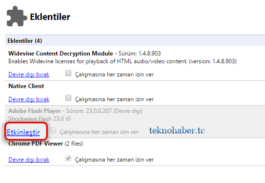 chrome flash player eklentisi